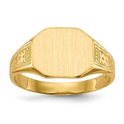 Open Back Mens or Womens Signet Ring Custom Personalized with Free Engraving Available of Initials or Monogram ~ Size 8 in Solid 14K Yellow Gold by Roy Rose Jewelry