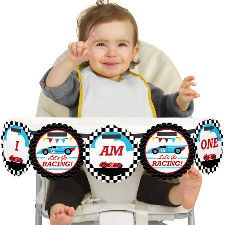 Let's Go Racing - Racecar - I Am One - First Birthday High Chair Birthday Banner (Horse Racing Banner)