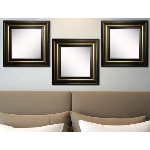 Charlton Home Kimzey Stepped Antiqued Wall Mirror (Set of 3)