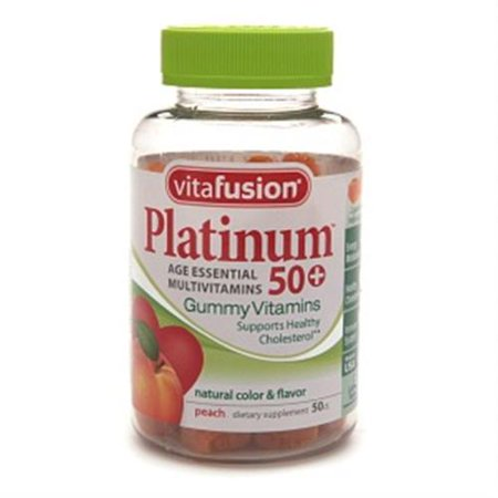 Vitafusion Platinum 50+ multivitamines Gummy, Peach 100 ch (Pack de 4)