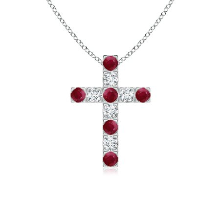 8ea601165019 Angara - Mother s Day Jewelry - Flat Prong-Set Ruby and Diamond Cross  Pendant in 14K White Gold (2.5mm Ruby) - SP0120RD N-WG-A-2.5 - Walmart.com