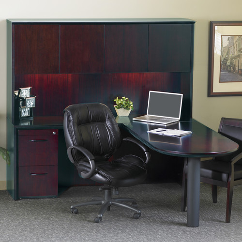 Mayline Group Corsica Series L-Shape Executive Desk with Hutch