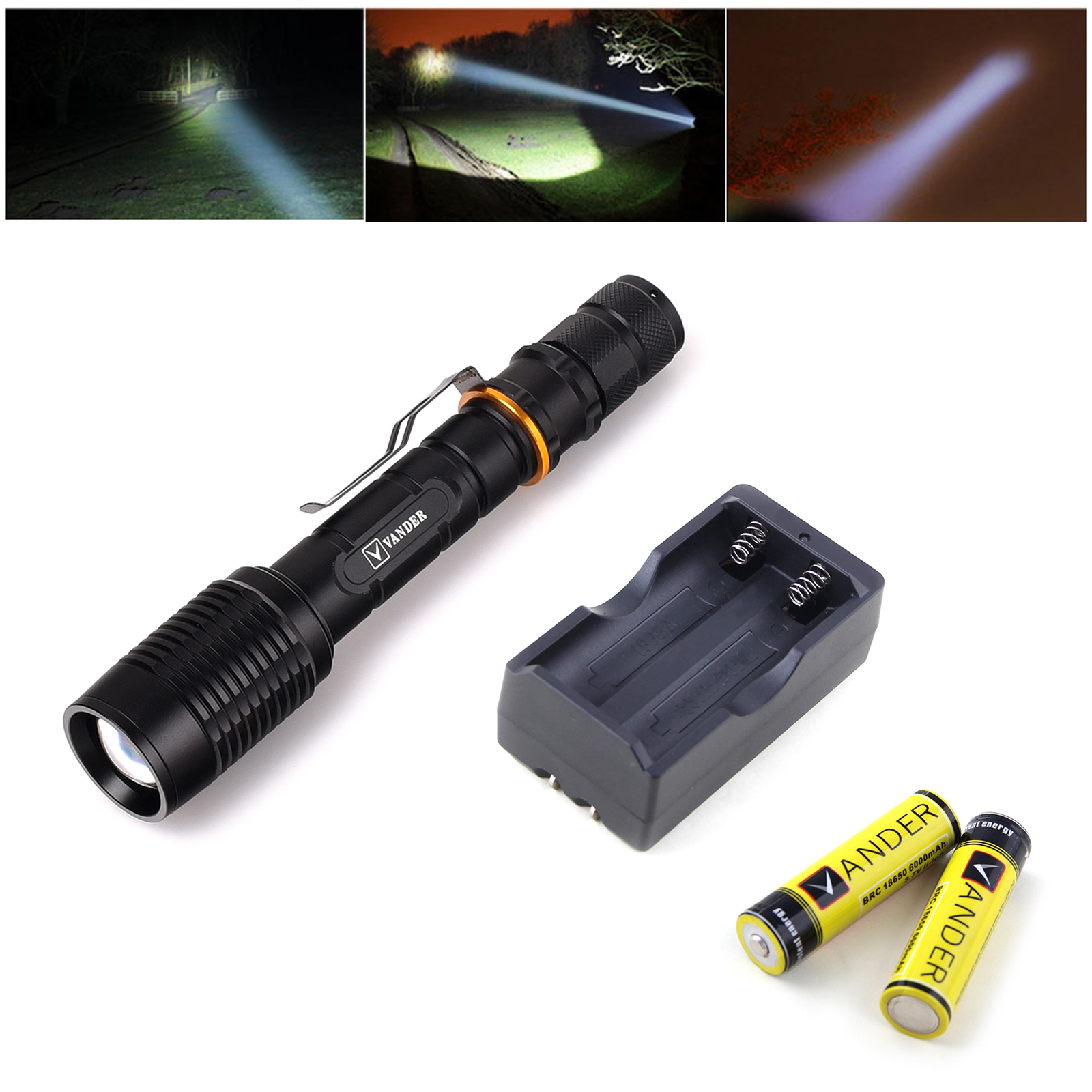 VANDERLIFE Flashlight CREE 5 Modes 2000LM XM-L T6 Zoomable Focus 18650 LED Flashlight Torch + Batteries + Charger