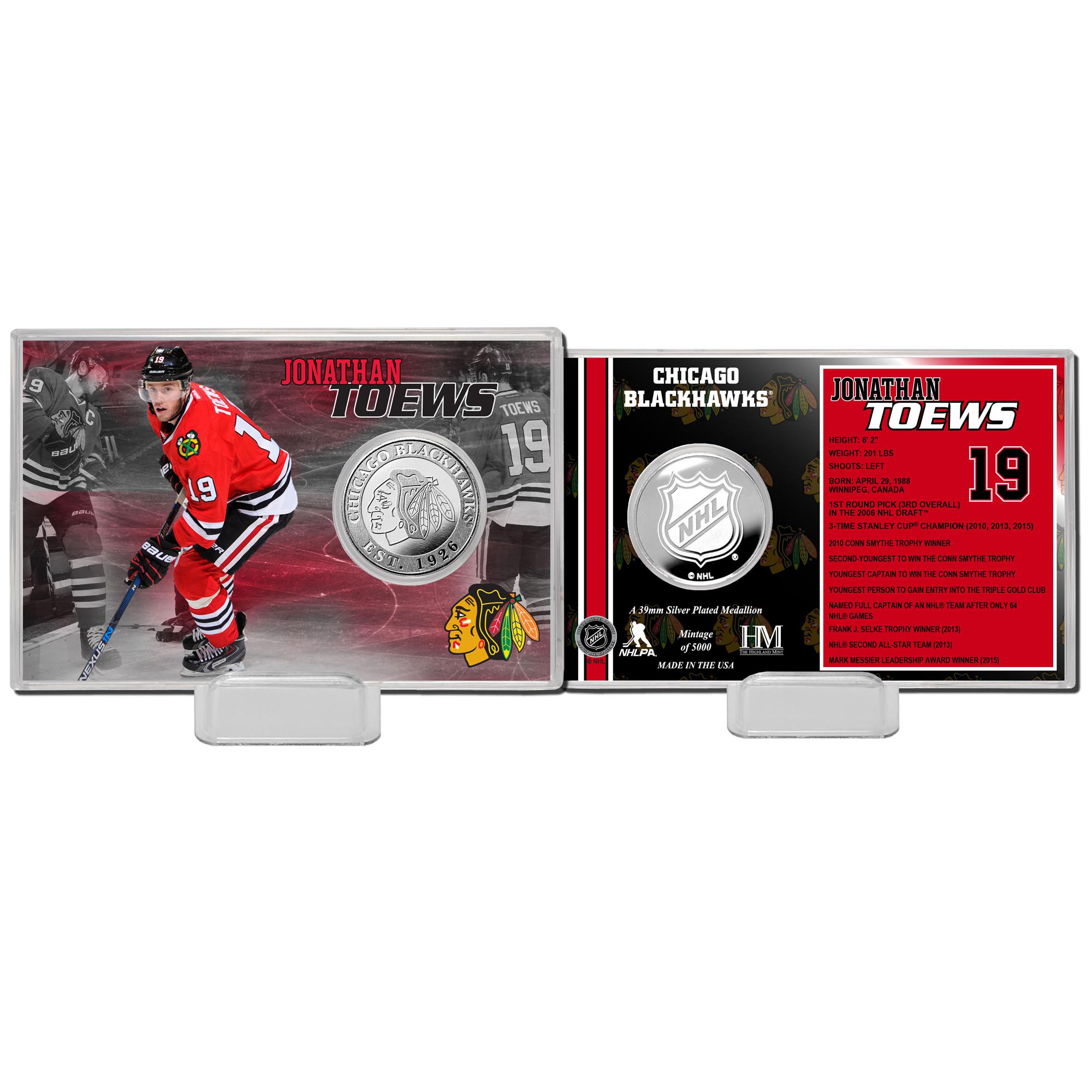 Jonathan Toews Chicago Blackhawks Highland Mint Player Coin Card - - No Size