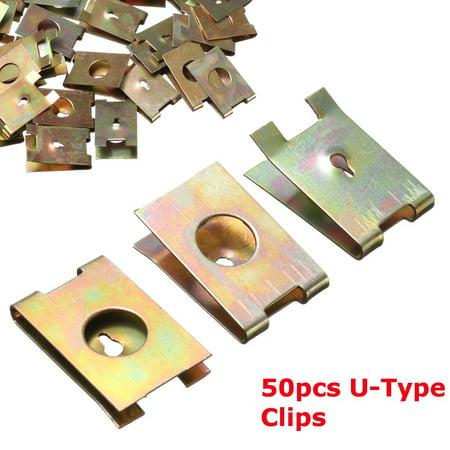 U-clip Bonded Fastener (50Pcs Spring Metal Car Screw U-Clip Auto Door Pannel Type Copper Buckle 6mm)