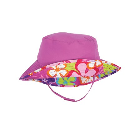 Sun Smarties Raspberry Pink and Floral Adjustable and Reversible Baby Girl Sun Hat - Solid Raspberry Pink Reverses to a Floral Hawaiian Print Brim Hat  - UPF 50+ Protected