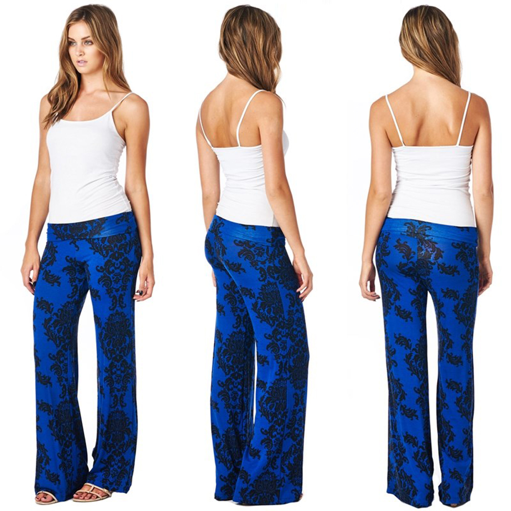 Women's Casual Floral High Waist Boho Fashion Wide Leg Stretchy Paisley Print Palazzo Pants Trousers (Blue) Size-M