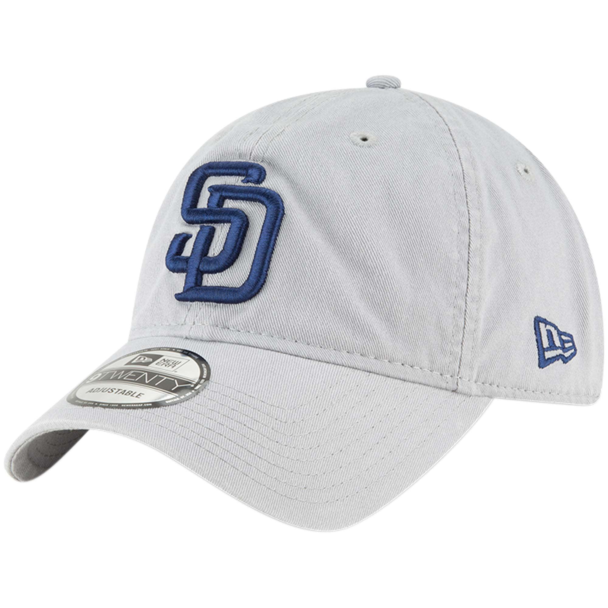 San Diego Padres New Era Core Classic Twill 9TWENTY Adjustable Hat - Gray - OSFA