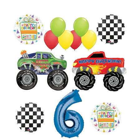Monster Truck Party Supplies 6th Birthday Balloon Bouquet Decorations - Monster Truck Party Supplies