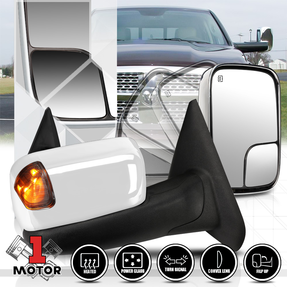 FOR 02-09 DODGE RAM POWER+HEATED+LED SMOKED LIGHT REAR VIEW TOWING MIRROR PAIR