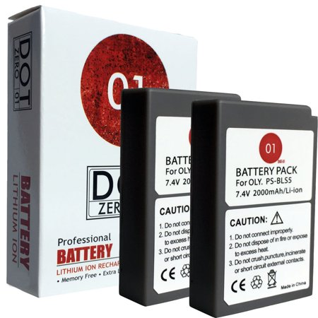 2x DOT-01 Brand 2000 mAh Replacement Olympus BLS-5 Batteries for Olympus E-PL2 Compact System Digital Camera and Olympus (Digital Compact System Camera)
