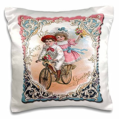 3dRose Cute Boy and Girl on a Tandem Bicycle with Ornate Victorian Frame - Pillow Case, 16 by 16-inch (pc_170261_1)