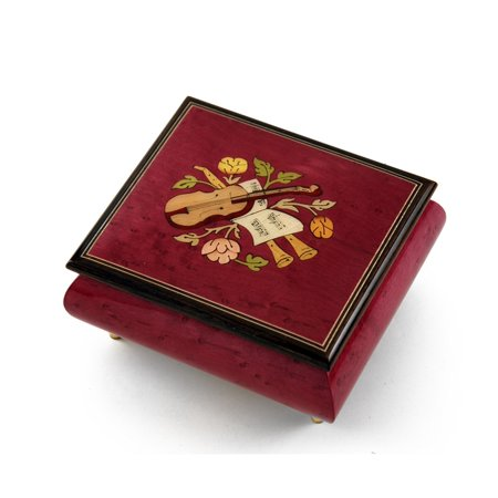 Inspiring Red Wine Music Theme with Violin Wood Inlay Music Box - American DreamThe - SWISS