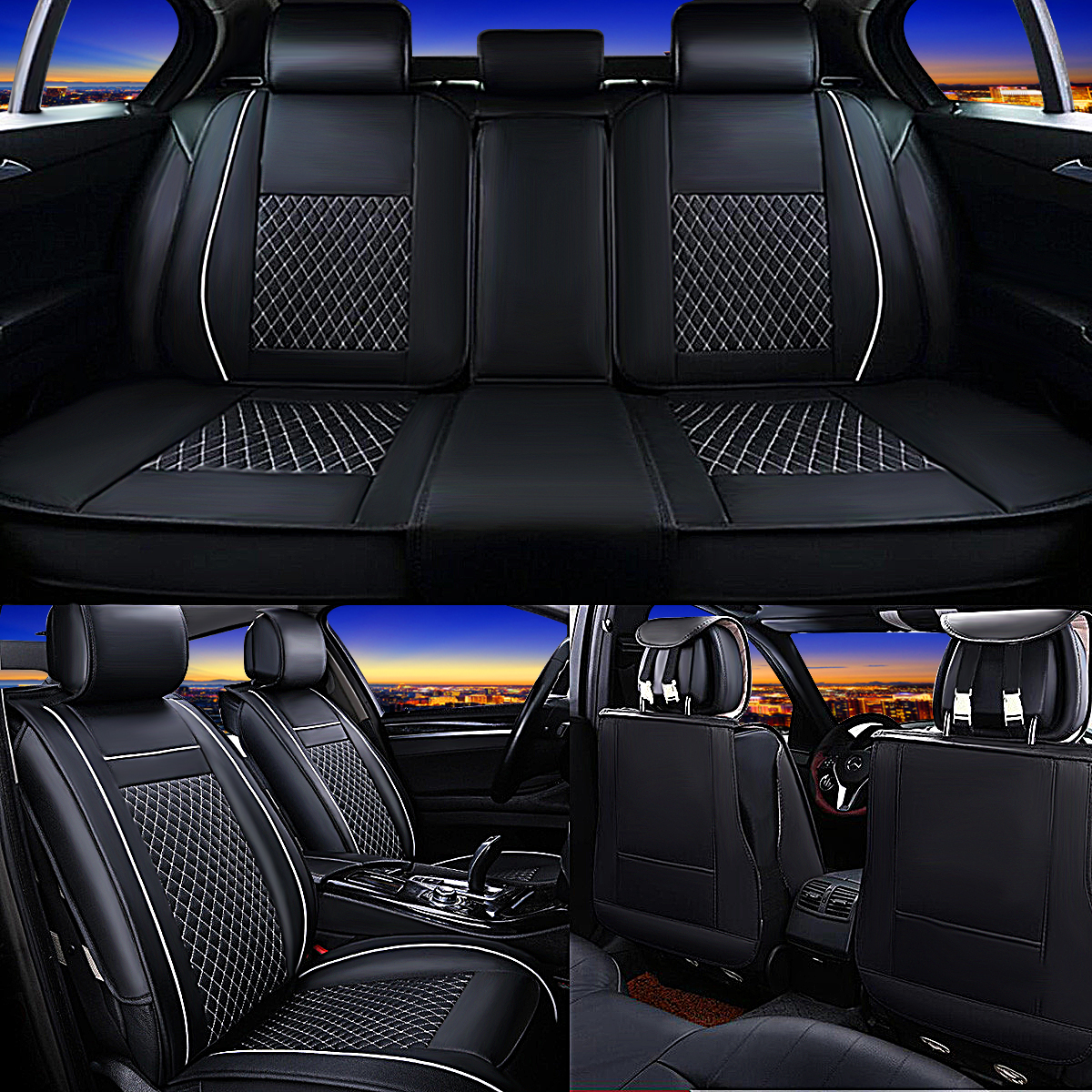 7Pcs Universal 5 Seat Cover Leather Car Front + Rear Cushion Pad + Armrest Case For Four Seasons