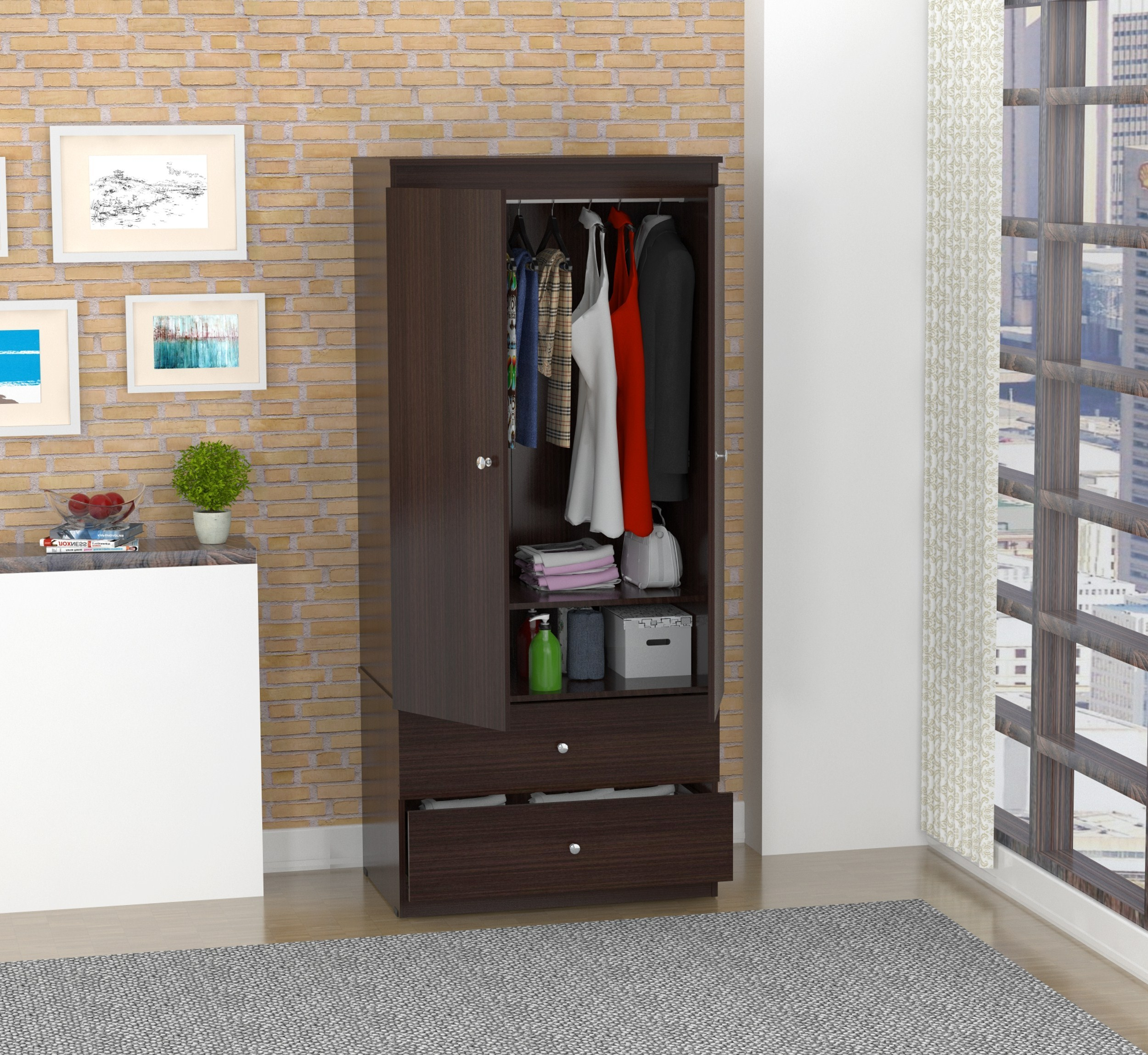 Inval Contemporary Espresso Armoire by Inval