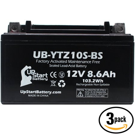 - 3 Pack - YTZ10S-BS Battery Replacement (8.6Ah, 12v, Sealed) Factory Activated, Maintenance Free Battery Compatible with - 2015 Yamaha FZ-07, 2006 Honda CBR1000RR, 2007 Honda CBR1000RR