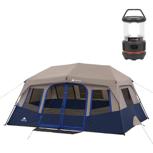 Ozark Trail 14' x 10' Instant Cabin Tent, Sleeps 10 and Lantern Bonus Bundle
