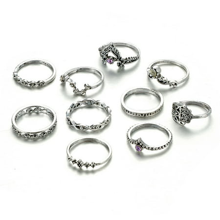 Outtop 10pcs/Set Women Bohemian Vintage Silver Stack Rings Above Knuckle Blue Rings (Silver Stacked Star)