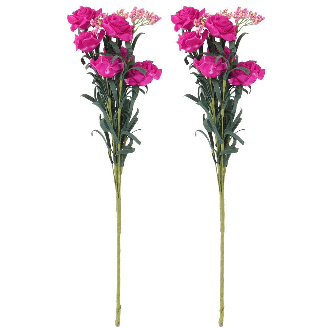 Wedding Foam Artificial Rose Flower Photo Prop Handheld Bouquet Fuchsia 2pcs