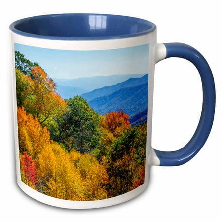 3dRose North Carolina, Great Smoky Mountains National Park - Two Tone Blue Mug, 11-ounce