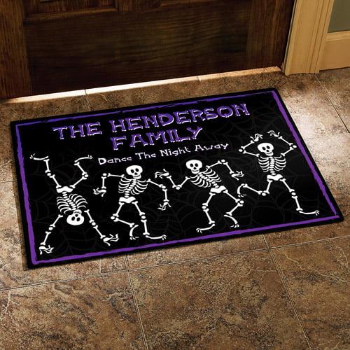 """Personalized Halloween Dancing Skeletons Doormat, 24"""" x 36"""""""