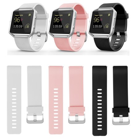 3Pack Waist Bands for Fitbit Blaze Sport Silicone Replacement Straps for Fitbit Blaze Smart Fitness Watch (Fitbit Device & Frame Excluded) - Cloth Watch Bands