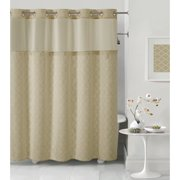 Hookless Taupe Mosaic Polyester Shower Curtain
