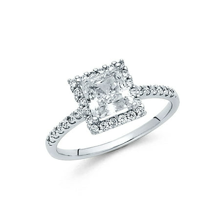 Jewels By Lux 14K White Gold Princess Cut Square Shaped Cubic Zirconia CZ Engagement Ring w/Round Side Stones Size 5.5