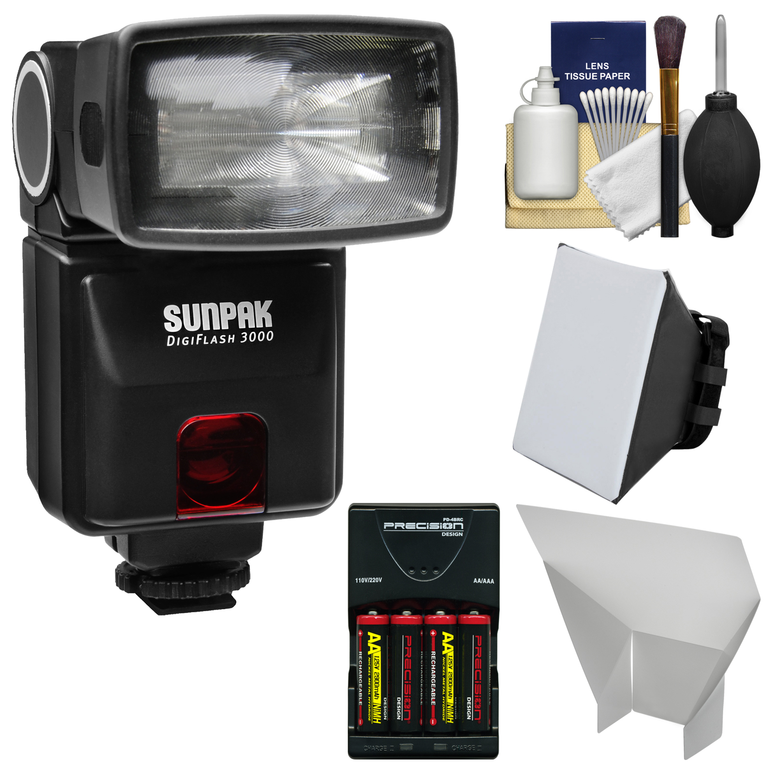 Sunpak DigiFlash 3000 iTTL Flash + Batteries/Charger + Soft Box + Bounce Reflector Kit for Nikon D3200, D3300, D5200, D5300, D5500, D7100 Camera