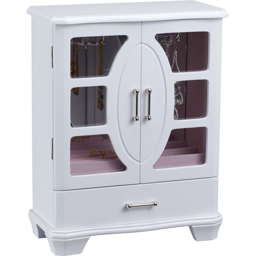 Wood and Glass Jewelry Box with One Drawer, White