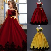 Fashion Kids Girls Lace Satin Flower Wedding Bridesmaid Pageant Party Formal Dress Sleeveless Ball Gown Dresses