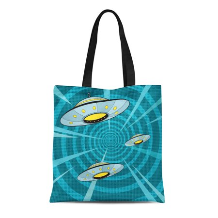 JSDART Canvas Tote Bag Space Attack Ufo Pop Retro the Alien Ships Quickly Durable Reusable Shopping Shoulder Grocery Bag - image 1 of 1