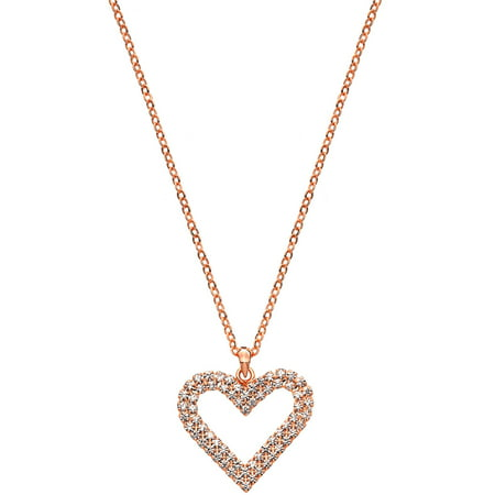 Handset Austrian Crystal 14kt Rose Gold-Plated Double Heart Necklace