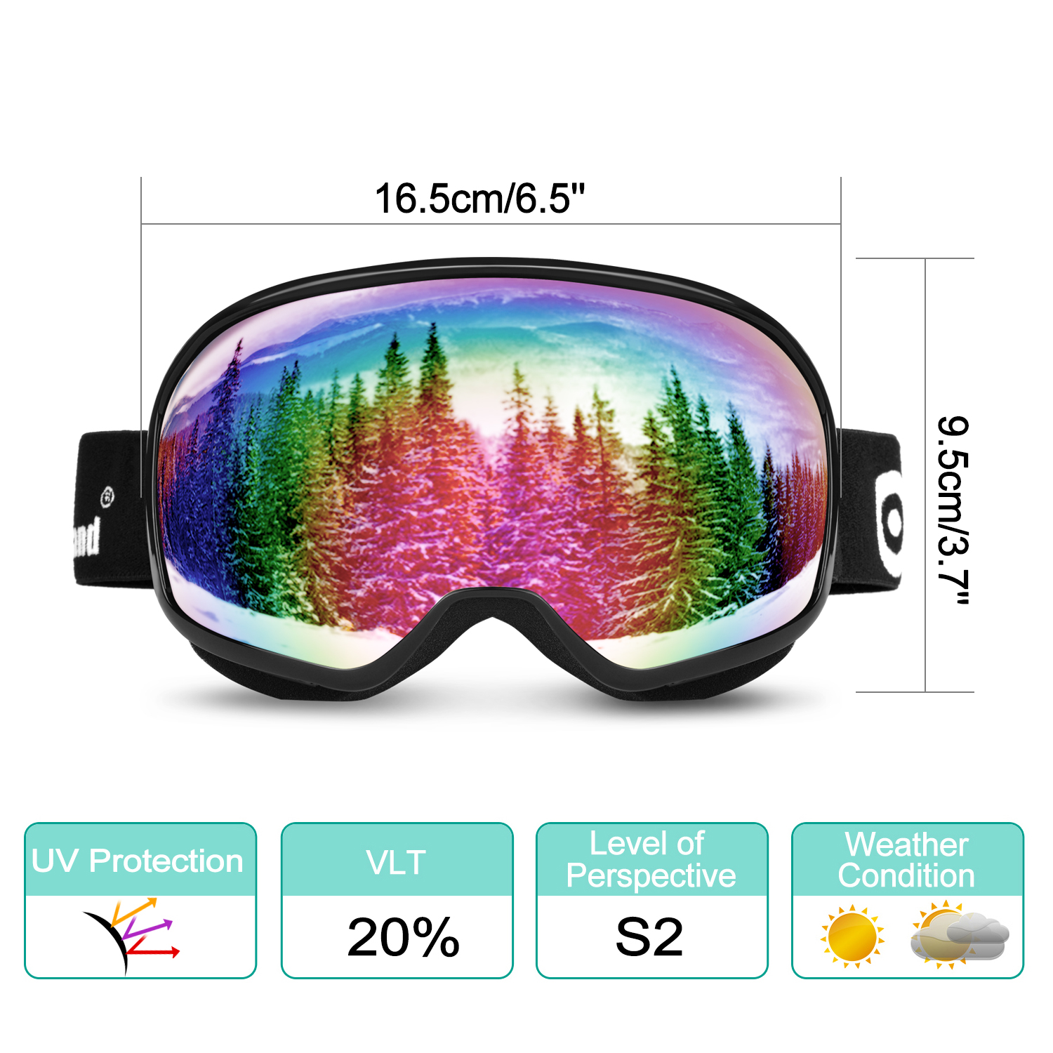 Odoland Large Spherical Ski Goggles for Kids Aged 8-16 OTG goggles S2 Double Anti-Fog Lens w  UV400 Protection by
