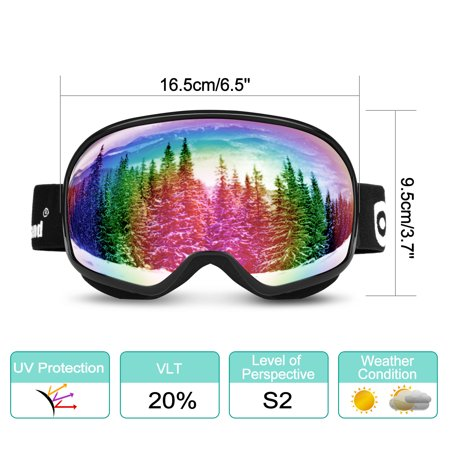 Spherical Series Goggles - Odoland Large Spherical Ski Goggles for Kids Aged 8-16 OTG goggles S2 Double Anti-Fog Lens w/ UV400 Protection