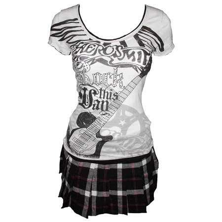 Aerosmith Juniors T-Shirt & Plaid Skirt 2 Piece Outfit Set (Small) W4 - Jr Zookeeper Outfit