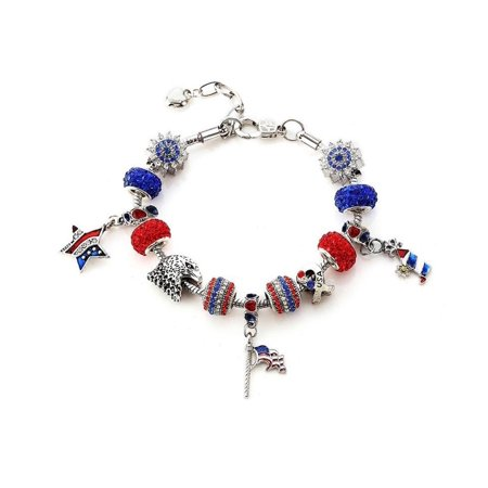 Novadab Patriotic Shamballa Charm Bracelet