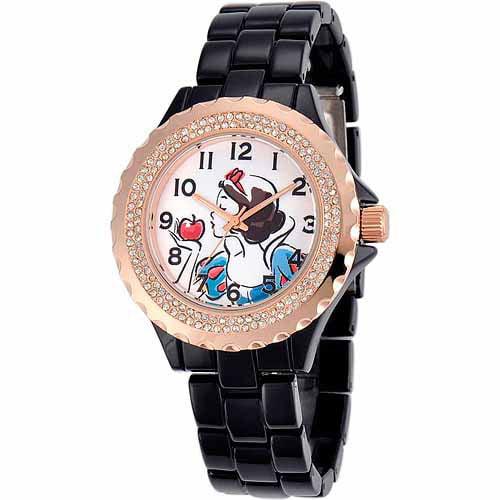 Snow White Women's Rosegold Enamel Watch, Black Bracelet