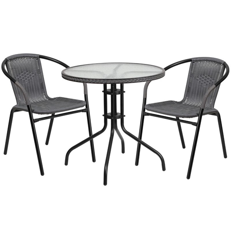 Bowery Hill 2 Piece Round Patio Dining Set in Black and Gray