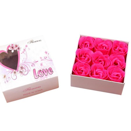 9Pcs Artificial Scented Rose Petal Bouquet Gift Box Bath Body Flower Soap Gift Wedding Party Favor Rose Bouquet Box