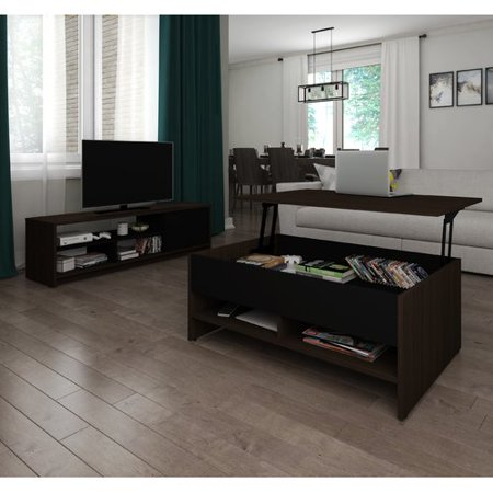 Bestar Small Space 2-Piece Lift-Top Storage Coffee Table and TV Stand Set in Dark Chocolate and (Coffee Table Sets With Matching Tv Stand)