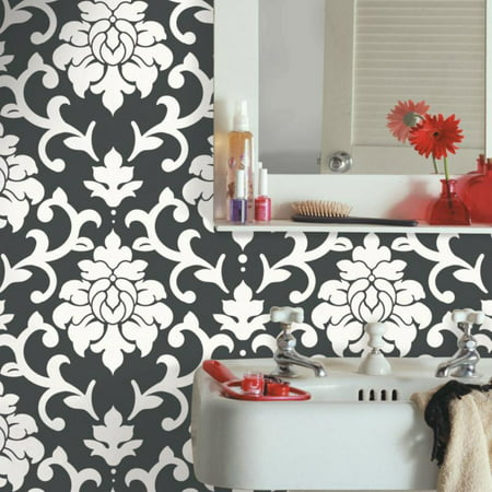 RoomMates Black Damask Peel & Stick Wallpaper (Halloween Black Cat Wallpaper)