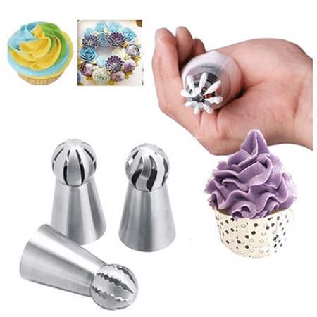 Dilwe 3pcs Russian Stainless Steel Tips Tulip Sphere Whip Cream Buttercream Icing Piping Nozzles DIY Baking Tools Small Torch for Decoration Cupcake Fondant Cake