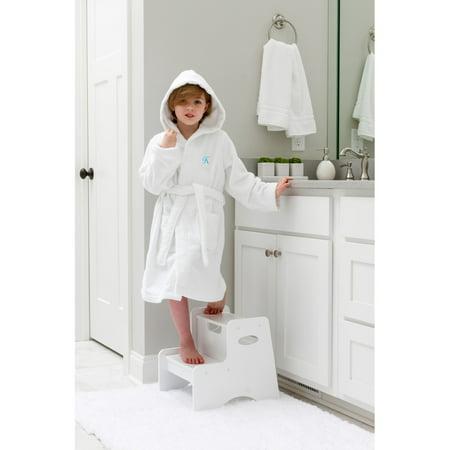 Linum Home Sweet Kids Turkish Cotton Terry White with Aqua Blue Script Monogram Hooded Bathrobe ()