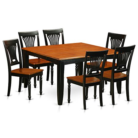 Pfpl7 bch w 7 pc dining room set dining table and 6 solid for Dining room sets 7 pc