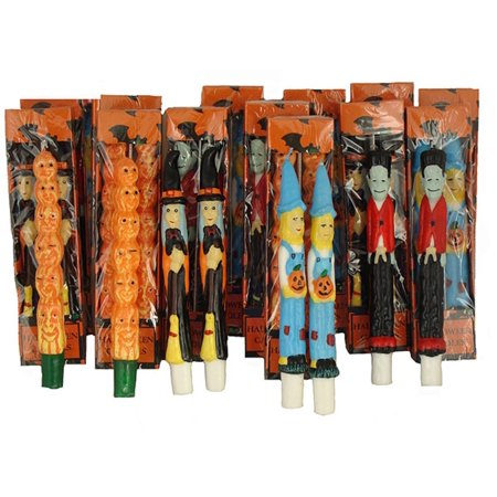 Pack of 144 Halloween Witch, Scarecrow, Pumpkin and Frankenstein Taper Candles (Halloween Pumpkin Scarecrow)