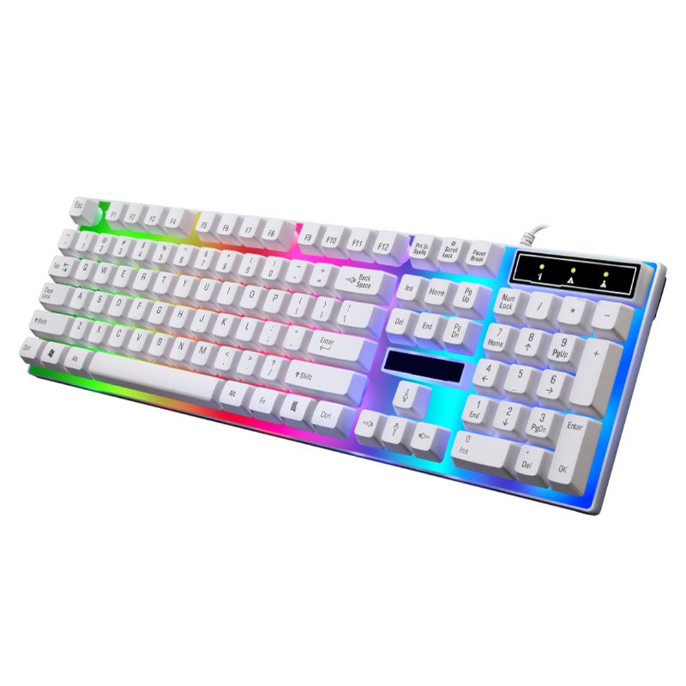 Outtop LED Rainbow Color Backlight Adjustable Gaming Game USB Wired Keyboard Mouse Set