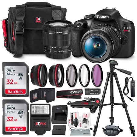 Canon T7 EOS Rebel DSLR Camera with EF-S 18-55mm f/3.5-5.6 is II Lens and UV Filter Kit + Tripods + Flash & 32GB Dual SD Card Accessory Bundle