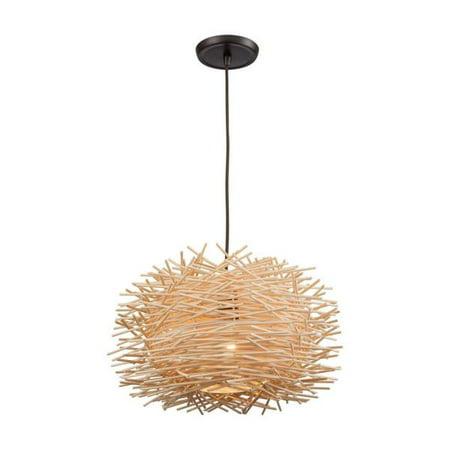 Elk Lighting Bamboo Nest - One Light Pendant, Oil Rubbed Bronze Finish with Bamboo Sticks Shade