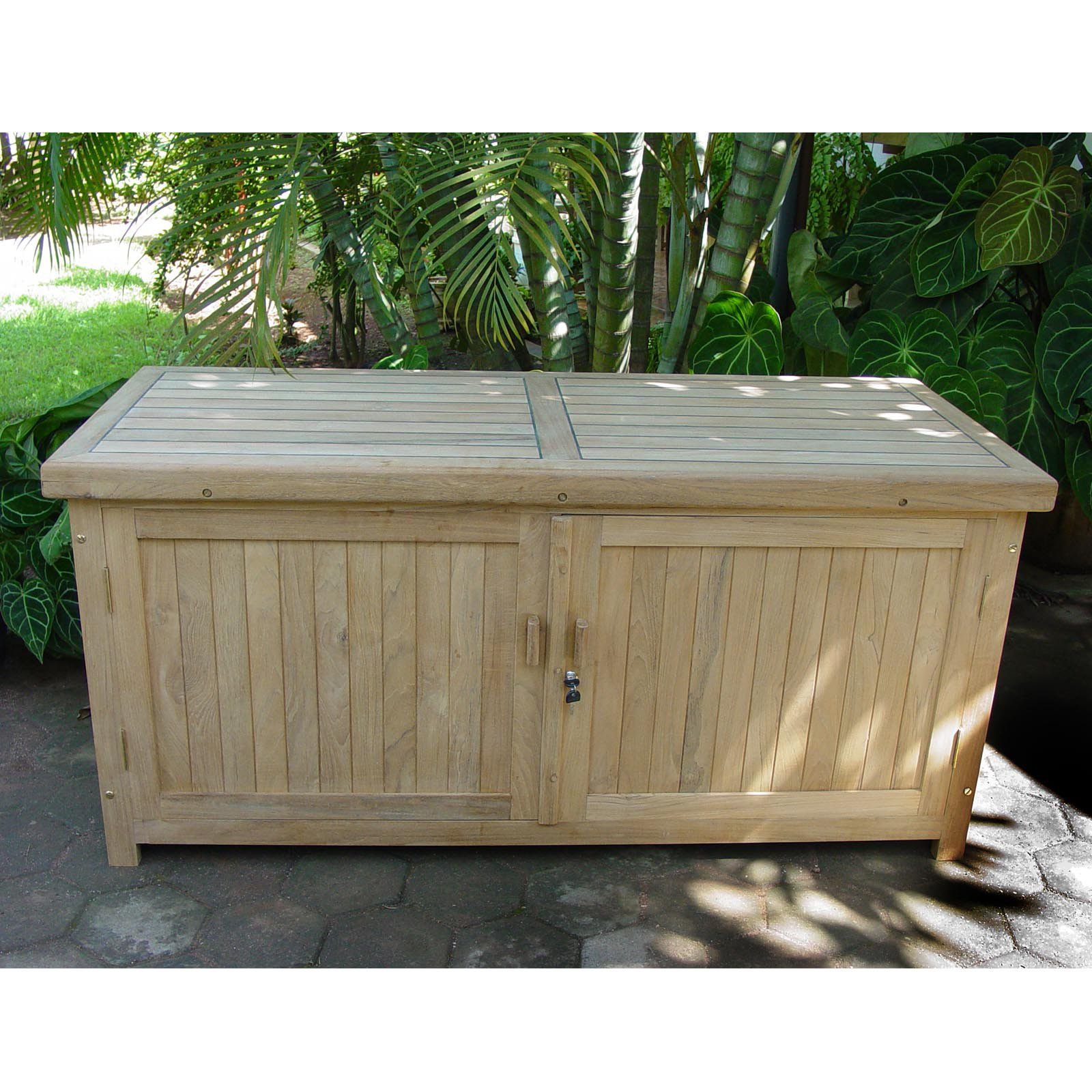 Teak Cushion 130 Gallon Deck Box With Door